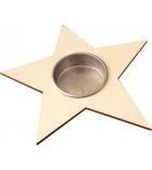 """Bougeoir en bois à décorer """"l'étoile"""" 13 x 13 cm"""