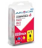Pack 4+1 cartouches jet d'encre compatibles pour Canon neuves - 2x520+3x490 pages - PGi-52N -CLI-8