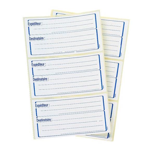 Etui de 48 /étiquettes autocollantes exp/éditeur//destinataire AVERY Format 64 x 133 mm,