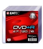 Pack 10 DVD+R 4,7 Go EMTEC - 16x - boîtier slim