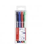 Pochettes de 4 stylos feutres STABILO - Sensor 0,1 mm - assortiment