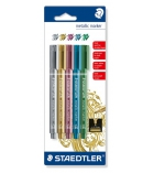 Pochette de 5 marqueurs feutres STAEDTLER - Metallic Marker 8323 - assortiment