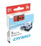 Ruban laminé DYMO D1 - 9 mm x 7 m - noir/rouge