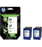 Pack 2 cartouches d'impression jet d'encre HP encre 3 couleurs 2 x 500 pages - C9503AE - 57