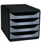Module de classement EXACOMPTA Bigbox - 4 tiroirs - noir/argent métal