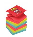 Paquet de 6 blocs Z'notes POST-IT Super sticky - 76 x 76 mm - couleur vitaminées