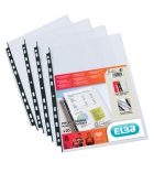 Sachet de 20 pochettes perforées 11 trous ELBA polypro lisses 120µ - incolore