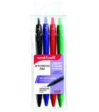 Pochette de 4 stylos rétractables UNI-BALL - Jetstream Mix - pointe fine
