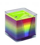 Bloc cube arc en ciel - 9 x 9 x 9 cm - 90 g - boîtier complet - plexi fumé