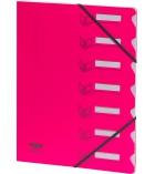 Trieur polypro EXTENDOS à élastique 7 compartiments - rose fluo