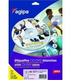 Paquet de 20 feuilles 40 étiquettes APLI - 119626 - pour CD/DVD - Ø117,5 mm
