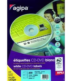 Boîte de 100 feuilles 200 étiquettes pour CD/DVD  APLI - 119884 - Ø 117,5 mm