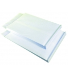 Paquet 50 pochettes auto-adhésives kraft blanc armé - 260 x 330 - sans fenêtre - 150 g - soufflet 50