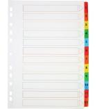 Jeu intercalaires alphanumérique mylar - 12 touches couleur - A4+
