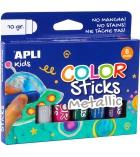 Pochette de 6 tubes de gouache APLI Color Sticks 10g - couleurs métal