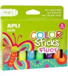 Pochette de 6 tubes de gouache APLI Color Sticks 10g - couleurs fluos