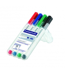 Box 4 marqueurs effaçables STAEDTLER - Lumocolor Whiteboards 351 - pointe ogive - assortiment