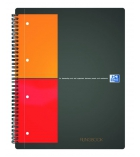 Cahier spirale perforé 4 trous OXFORD Filingbook - 200 pages - A4+ - 5 x 5 couverture grise