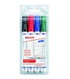 Pochette de 4 marqueurs effaçables EDDING - Whiteboard E20 - pointe ogive - assortiment
