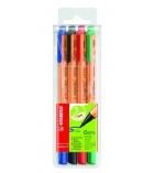 Pochette de 4 stylos feutres STABILO - Greenpoint - pointe moyenne - 0,8mm - assortiment