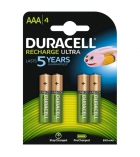 Paquet de 4 piles rechargeables DURACELL - LR03 AAA - 1,2 volts