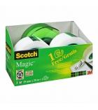 Pack de 3 rouleaux SCOTCH Magic 810 + 1 dévidoir - vert