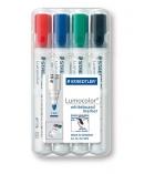 Pochette de 4 marqueurs effaçables STAEDTLER - Lumocolor Whiteboard 351 - ogive - assortiment
