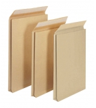 Paquet 50 pochettes auto-adhésives kraft brun armé - 280x410 mm - sans fenêtre - 130 g - soufflet 90