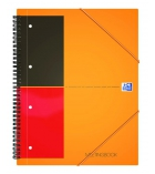 Cahier spirale perforé 4 trous OXFORD Meetingbook - 160 pages A4 + ligné 6mm couverture orange