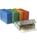 Paquet de 5 boîtes marbrées de classement - dos 9 cm - assortiment