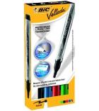 Lot de 4 marqueurs effaçables tableau blanc BIC -Velleda LiquidInk Pocket couleurs fun - assortiment