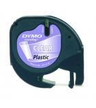 Ruban laminé plastique DYMO Letratag - 12 mm x 4 m - noir/transparent