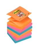 Paquet de 6 blocs Z'notes POST-IT Super sticky - 76 x 76 mm - couleur pétillantes