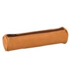 Trousse - fourre tout rond cuir naturel - 17 cm