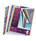 Paquet de 10 pochettes perforées - bord couleur - A4