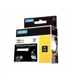 Ruban polyester DYMO pour Rhino - 9 mm x 5,5 m - noir/blanc