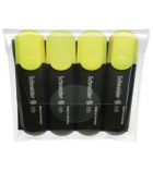 Pochette de 4 surligneurs SCHNEIDER - Job - pointe biseautée - jaune