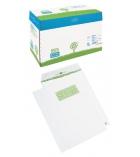 Boîte de 250 pochettes auto-adhésives extra blanc LA COURONNE - 229 x 324 mm - fenêtre 110x50 - 90 g