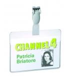 Boîte de 25 badges PVC DURABLE - avec clip - 60 x 90 mm