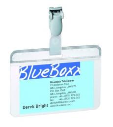 Boîte de 25 porte-badges DURABLE - clip auto-plastifiable - 54 x 90 mm