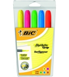 Pochette de 5 surligneurs BIC - Highlighter grip