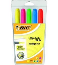 Pochette de 5 surligneurs BIC - Highlighter grip