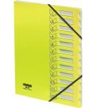 Trieur polypro EXTENDOS à élastique 12 compartiments - jaune fluo