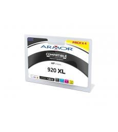 Pack 4 cartouches jet d'encre 1 noire 3 couleurs remanufacturées pour HP - C2N92AE- 920XL
