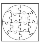 """Lot de 6 puzzle à peindre """"cercle"""" en carton 15 x 15 cm"""
