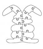 """Lot de 6 puzzle à peindre """"lapin"""" en carton 15 x 15 cm"""