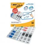 Pack de 60 marqueurs effaçables BIC Velleda 1741 - pointe ogive - assortis 4 couleurs