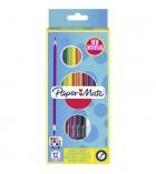 Etui de 12 crayons de couleur triangulaires PAPERMATE double pointe - 3,3 mm