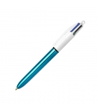 Stylo bille BIC 4 couleurs Shine pointe 1mm corps bleu
