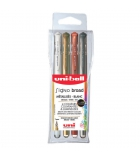 Pochette de 4 stylos bille UNIBALL Signo Gel UM 153 encre à pigmentation - assortis